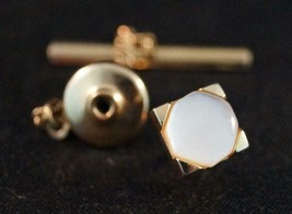 Vintage Swank Pearlescent Gold Tone Tie Tack Pin - $24.74