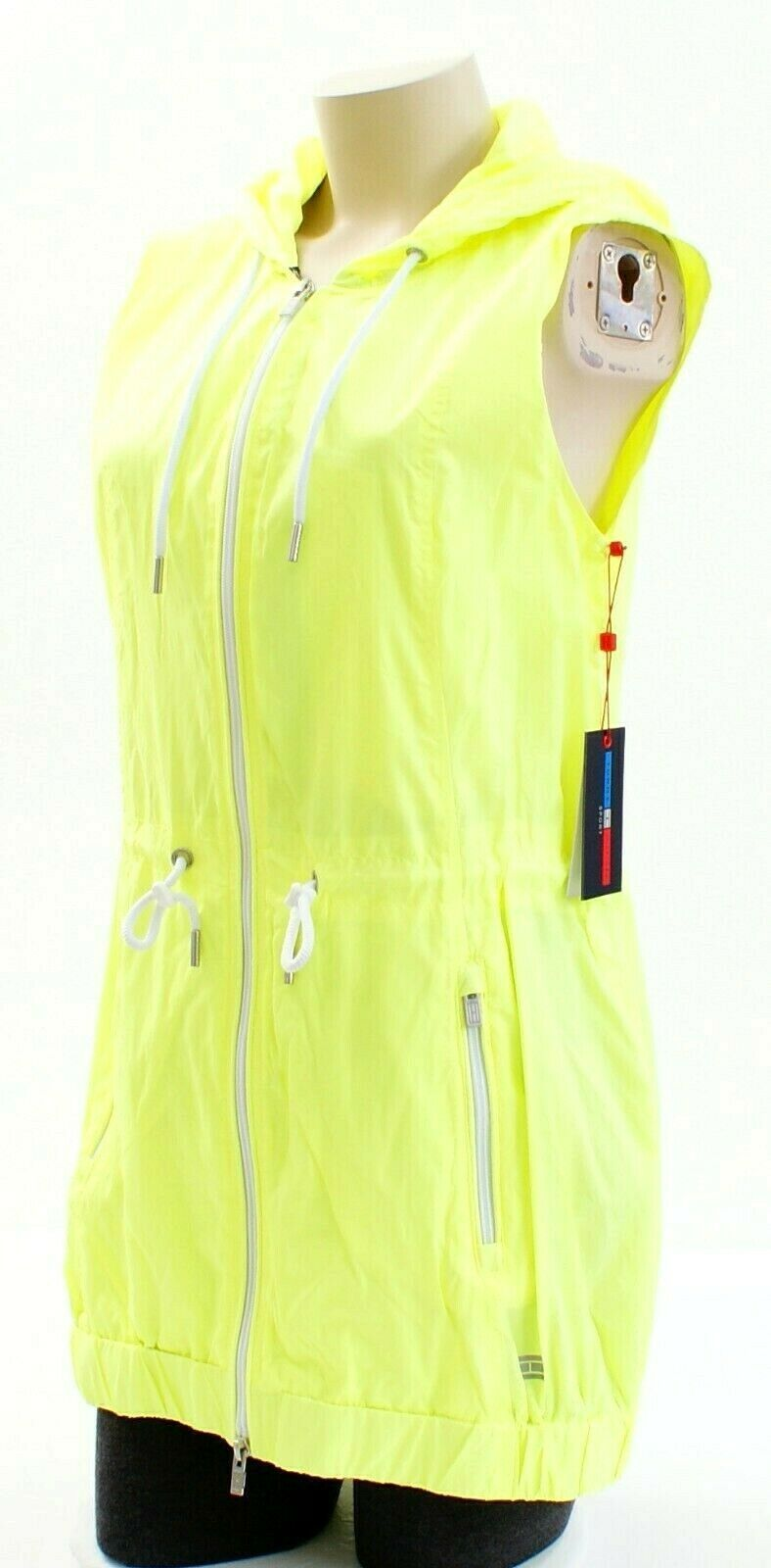 Tommy Hilfiger Yellow Zip Front Drawstring Hooded Sport Vest Women's Packable image 3