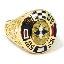 18K YELLOW GOLD BAND MAN RING, NAUTICAL ANCHOR, FLAGS, ENAMEL, COMPASS WIND ROSE image 1