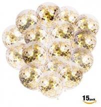 Confetti Balloons (15 PCS) 12 In Clear Party Balloon W/Gold Confetti Dots All - $25.38