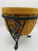 Longaberger At Home Garden Basket + Protector + Wrought Iron Stand - New - $77.07