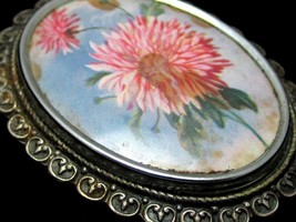 Pretty Pink Flowers Vintage Signed Tlm Made In England Silver Toned Broo... - $34.64