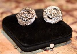 Trifari Crown Signed Clip On Earrings Rhinestone Crystal Silvertone Earrings - $27.99