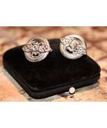 Trifari Crown Signed Clip On Earrings Rhinestone Crystal Silvertone Earr... - $27.99