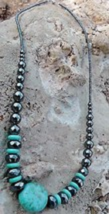 "Navajo Hand Made Turquoise & Hemitite 20"" Necklace - $59.35"