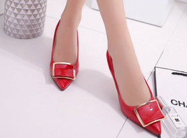 83H036 elegant pointy pump, stable heels, candy color, Size 5-8.5, red - $38.80