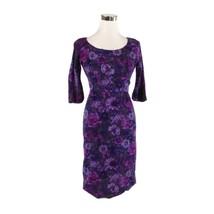 Dark purple floral print 3/4 sleeve vintage sheath dress XS - $30.00