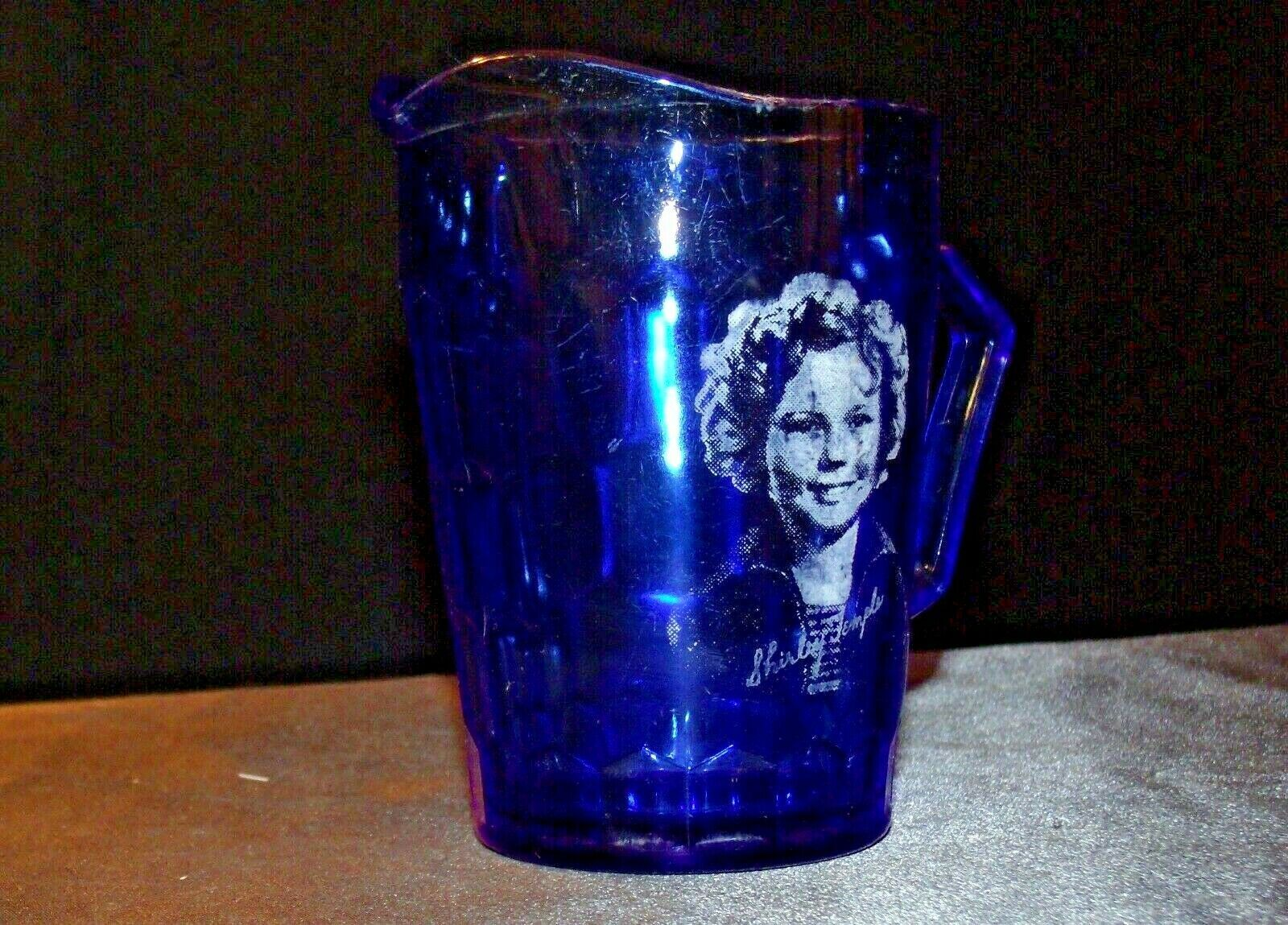 1930's Hazel-Atlas Shirley Temple Cobalt Blue Glass Pitcher AA20-2085 Vintage