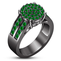 Women's Engagement Ring Round Cut Green Sapphire Black Gold Plated 925 S... - ₹6,104.07 INR