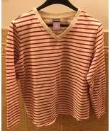 LAURA SCOTT Red & White Striped 100% Cotton V-Neck Long Sleeve Sweater S... - $3.47