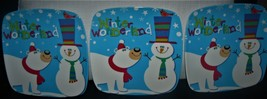 Holiday Time snack plates 3 piece set Blue square Snowman Winter Wonderl... - $13.74