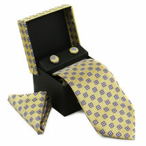 Berlioni Men's Silk Neck Tie Accessory Box Set With Cufflinks & Pocket Square image 12