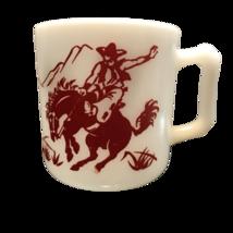 Vintage Western Cowboy Red Print Milk glass mug cup - £19.28 GBP