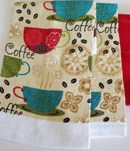 Red Coffee Kitchen Set 7pc Towels Potholders Dishcloths Colorful Cafe Cups image 3