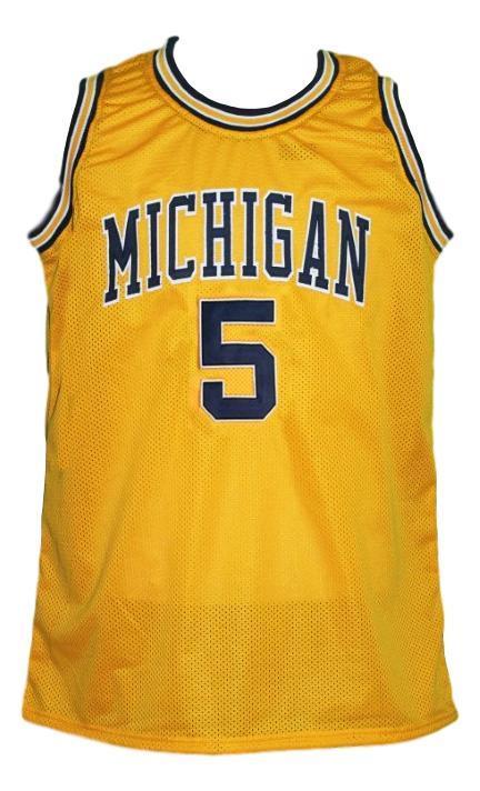 Jalen rose  5 custom college basketball jersey yellow  1