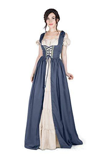 Renaissance Medieval Irish Costume Over Dress & Boho Chemise Set (2XL/3XL, Charc