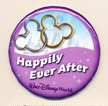 """Walt Disney World Resort HAPPILY EVER AFTER! 3"""" Round Button Pin Collect... - $3.95"""