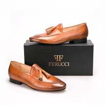 Handmade FERUCCI Men Plain Brown Leather with Brown Tassel Slippers loafer - $169.99