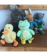 Lot of Plush Small Peter Rabbit Tan Easter Bunny Rabbit Gray Kitty Cat Y... - $14.89