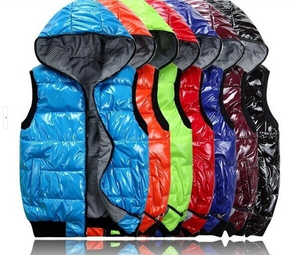 Quilted Reversible Long Zipper Mens Casual Polyester Hoody Vests