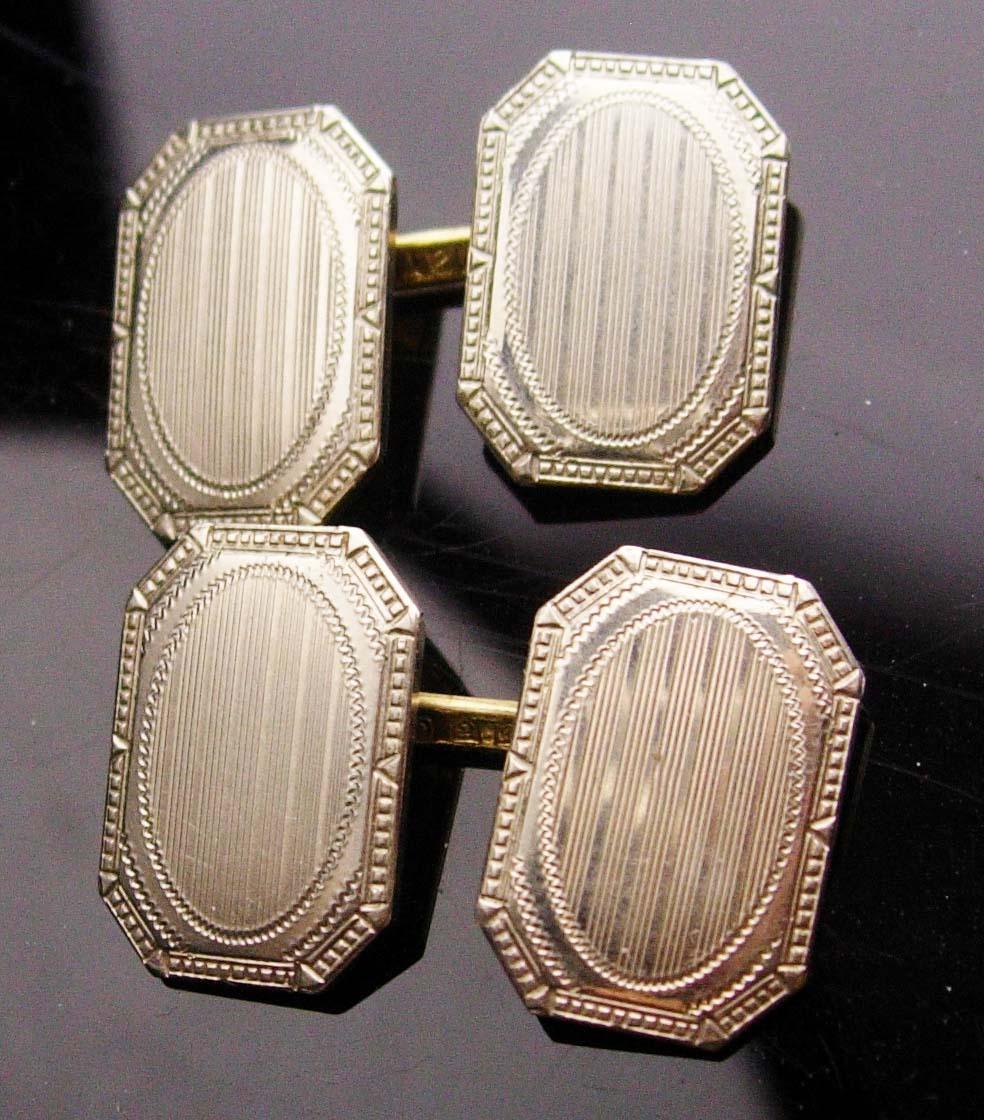 Antique Victorian Cufflinks - 14 & 10kt white Gold - button type - Fine Jewelry