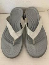 Womens Crocs Capri Metallic Texture Wedge Flip Silver Sandal Flip Flop Size W10 - $23.03