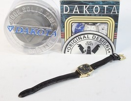 Dakota Wrist Watch retro female gold tone black analog H - $47.77