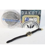 Dakota Wrist Watch retro female gold tone black analog H30 - $47.77
