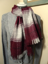 """WOOL BLEND Scarf Gray Burgundy with Tassels 11""""x50"""" Long soft Woven knit... - $14.84"""