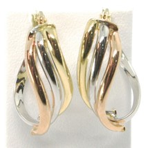 Earrings Circle Gold 750 18K, White Yellow Rose, Ovals, Wave, Wavy, 2.2 CM image 2