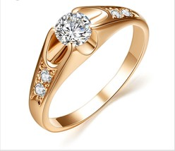Rose Gold Plated Mounting Bijoux 0.5ct Zirconia Engagement Jewelry Rings Wedding - $14.15