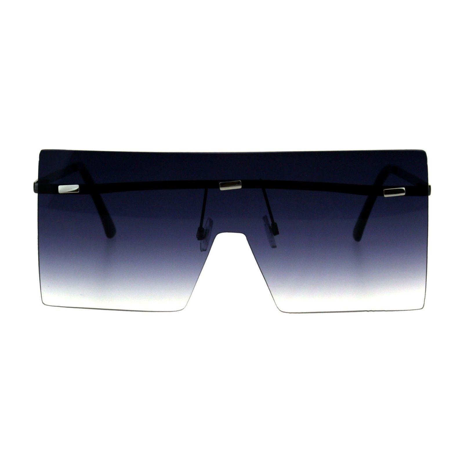 Womens Square Shield Sunglasses Super Oversized Rimless Cover Frame