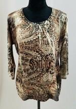 Chico's women small velvet pullover 3/4 sleeve blouse shirt embellishmen... - $7.92