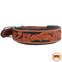 LARGE HILASON HEAVY DUTY GENUINE LEATHER DOG COLLAR PADDED TAN W/ BLACK ... - $27.95