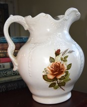 Vintage Pitcher White W/BROWN Floral Ceramic 1970's Era Victorian Reproduction - $49.99