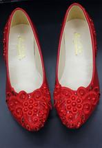 Red Wedding Shoes Fairy Faerie Woodland Flowergirl Woman Wife Fiance Girlfriend - $39.99