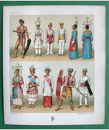 MALAYSIA Indonesia Natives Costume Fashion - COLOR Litho Print by A. Rac... - $12.60