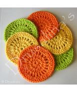 6 Crochet Coasters Citrus Orange Lemon Lime Slices Lot 100% Cotton Pool ... - $9.99