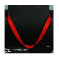 """TWO Adjustable Red Satin Ribbon Choker Necklaces 16"""" Silver Plated Add-a... - $3.35"""