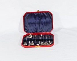 Vintage EP-NS coffee tea set of 6 spoons and 1 sugar tongs bishop priest design - $44.55