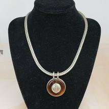 Vintage BEN AMUN Amber Color Lucite Pendant Silver Tone Chain Necklace C... - $99.97