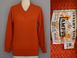 Vintage 50s Mens Chunky Rib Knit V-neck Sweater Size Small to Medium - $69.99