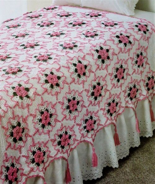 Primary image for Z460 Crochet PATTERN ONLY Stunning Elegance Rose Splendor Afghan Throw Pattern