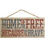 Home of Free Because Brave Natural 10 x 4.5 Wood Wall Hanging Plaque Sig... - $17.72