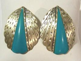 Vintage sterling silver SC  with blue lucite earrings - $38.00