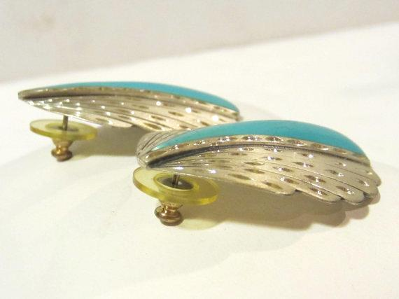 Vintage sterling silver SC  with blue lucite earrings