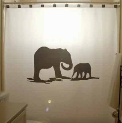 SHOWER CURTAIN Elephants Herd Family Elephant 03