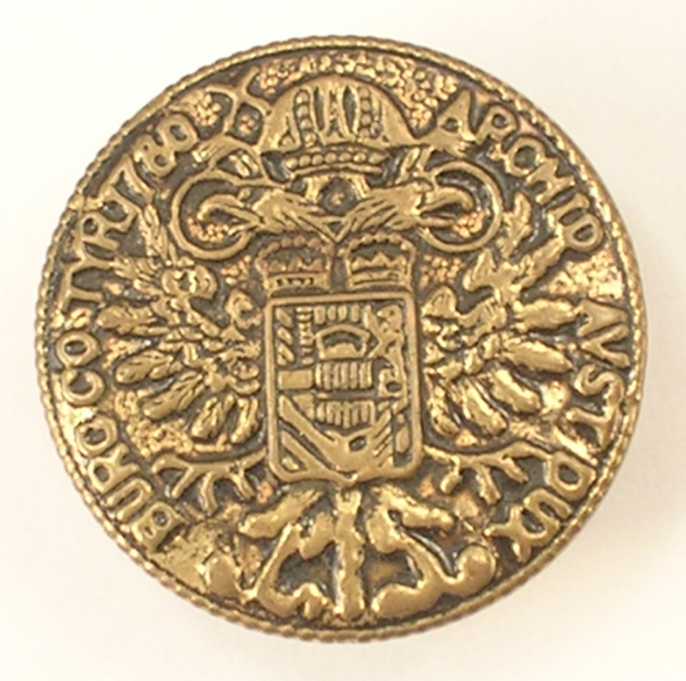 Gold Colored Button Replica of the Maria Theresa Thaler Coin from Vienna Austria