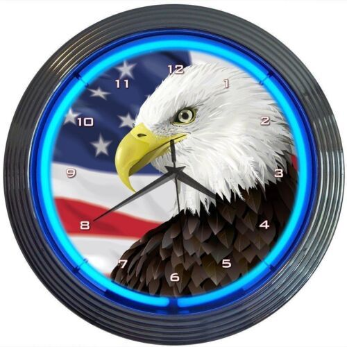 "Primary image for Eagle With American Flag Neon Clock 15""x15"""