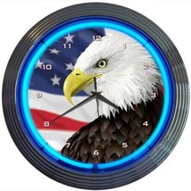 "Eagle With American Flag Neon Clock 15""x15"" - $59.00"